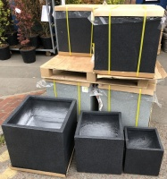 Fibreglass & Clay Planters (set of 3) - can be sold as pairs